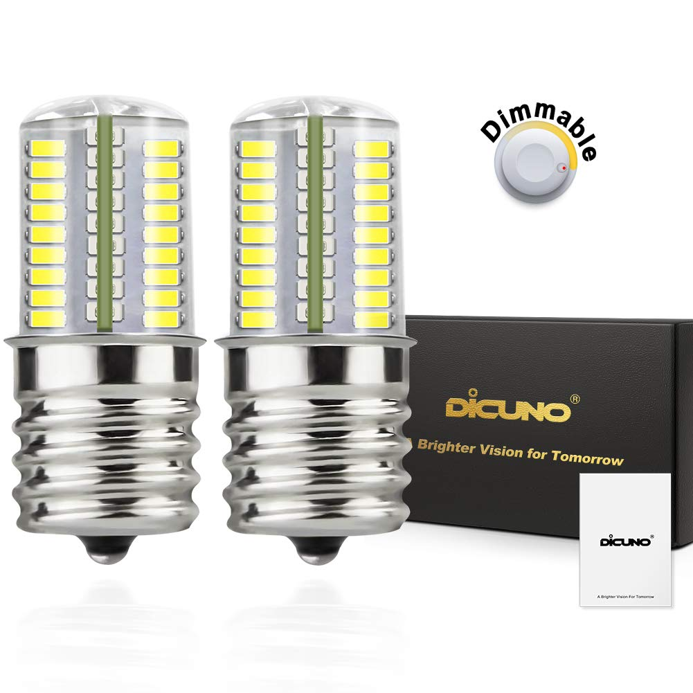 DiCUNO E17 LED Bulb Microwave Oven Light 4 Watt Dimmable Daylight White 6000K 72x3014SMD AC110-130V (2-Pack)