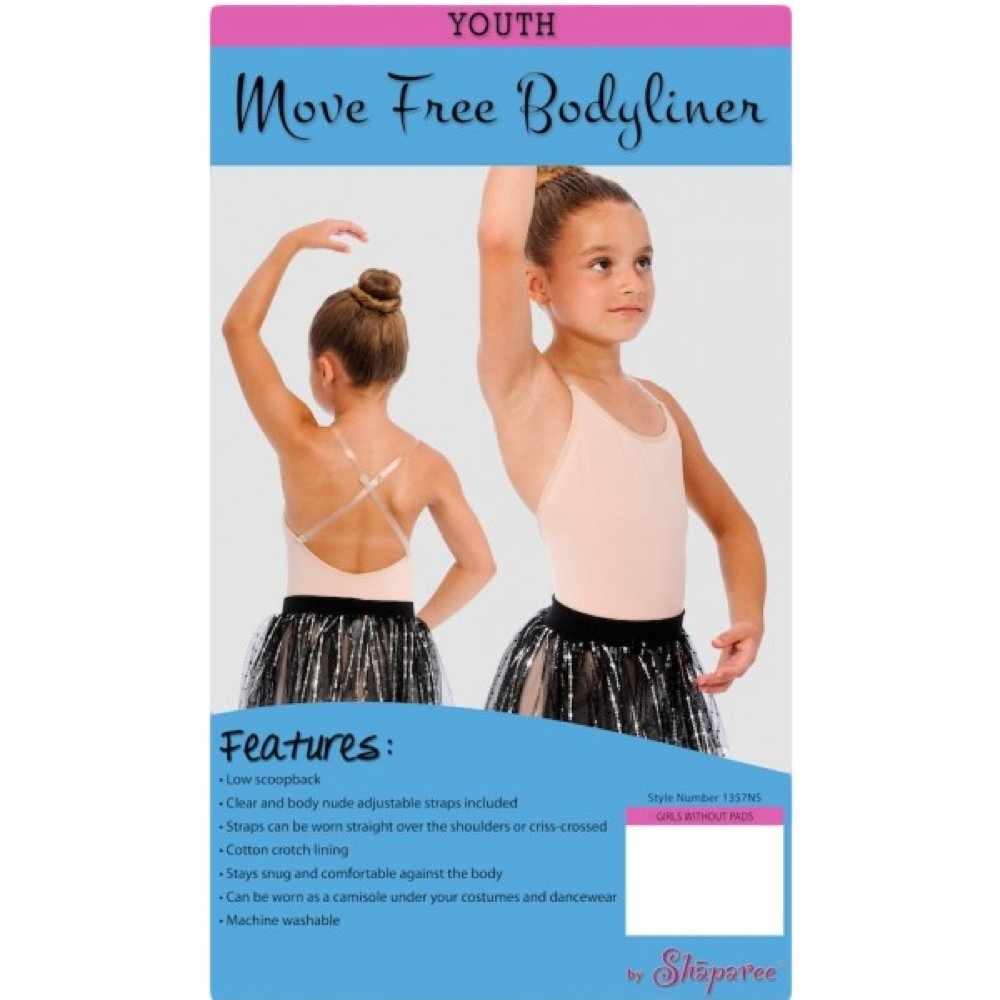 98e3c964ac4 Amazon.com  Shaparee by Q-T Youth Women s Move Free Body Suit - Dance    Ballet Bodyliner w o Shelf Liner  Clothing