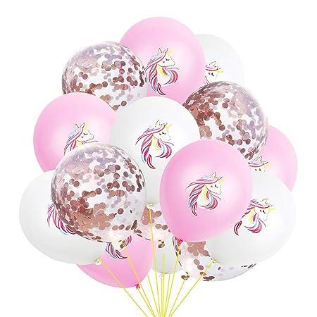 Cupcinu Globos Dorados Globos Unicornio Globos Fiesta Cumpleaños Decoraciones de Cumpleaños Suministros 15pcs Emulsión (Rosado)