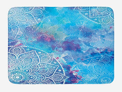 Ambesonne Mandala Bath Mat by, Watercolor Artwork of Ancient