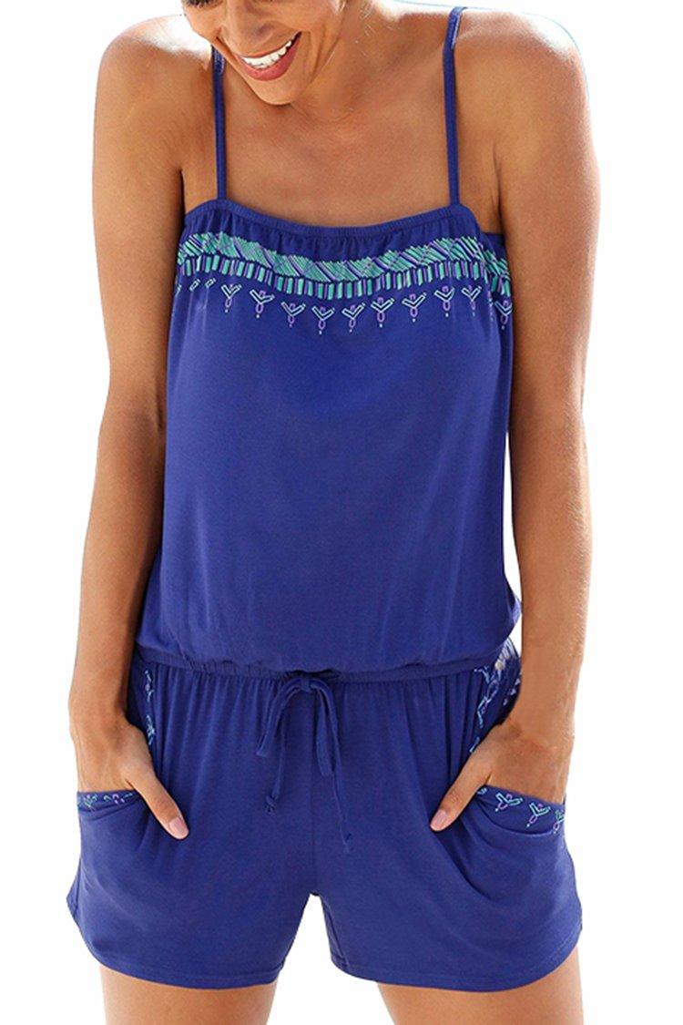 Veroge Women's Leisure Sleeveless Tube Top Loungewear Romper Sapphire Blue M