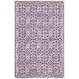 Safavieh Cambridge Collection CAM123K Handcrafted Moroccan Geometric Purple and Ivory Premium Wool Area Rug (6' x 9')