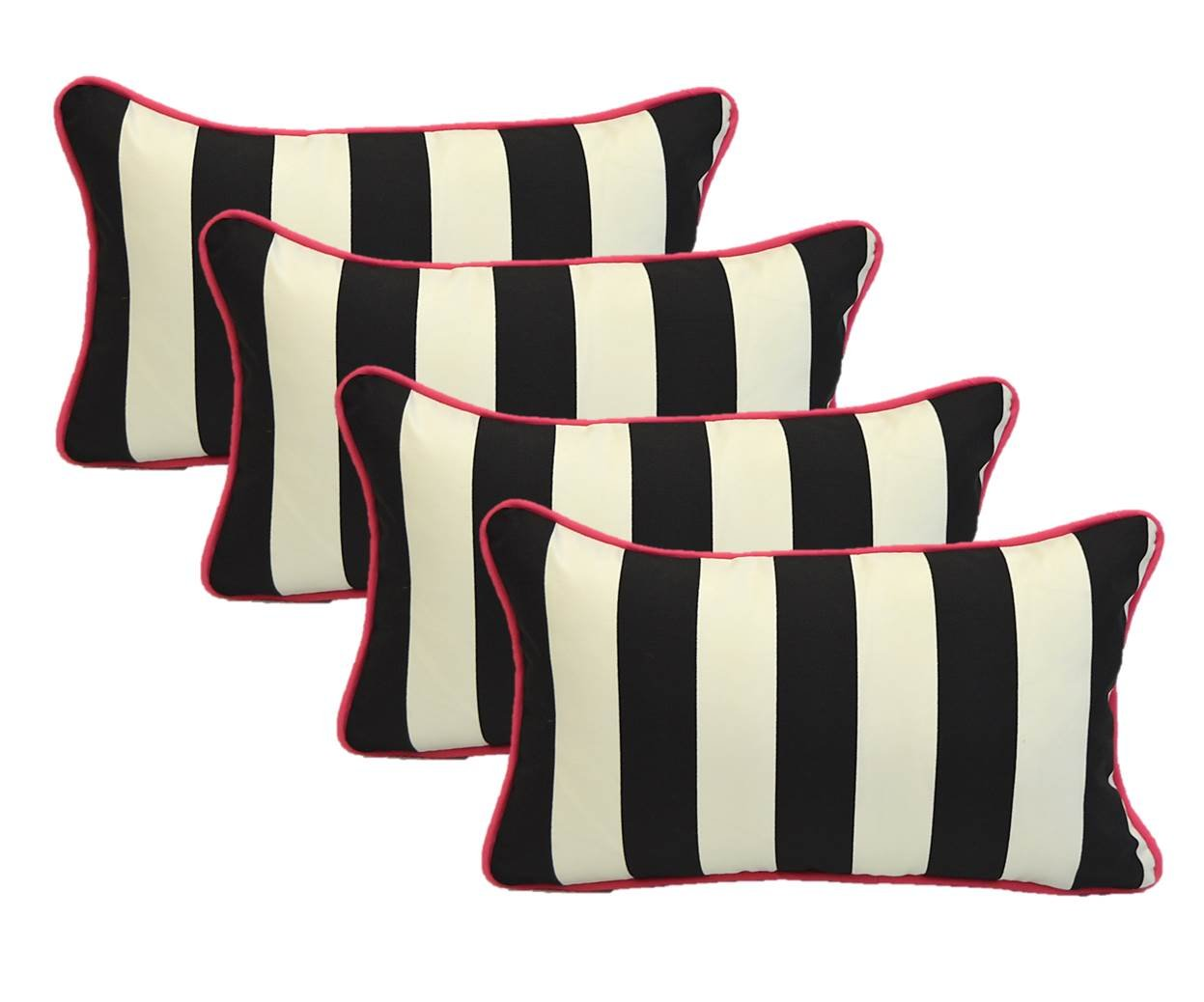 Resort Spa Home Decor Set of 4 Indoor Outdoor Decorative Lumbar Rectangle Pillows – Black and White Stripe with Hot Pink Piping Cording – Zipper Cover Insert