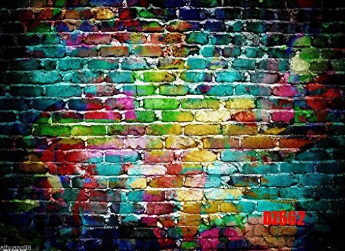 Mohoo 7x5FT Colorful Brick Wall Silk Photography Backdrop For Studio Prop Photo Background (Hip Hop Backdrop)