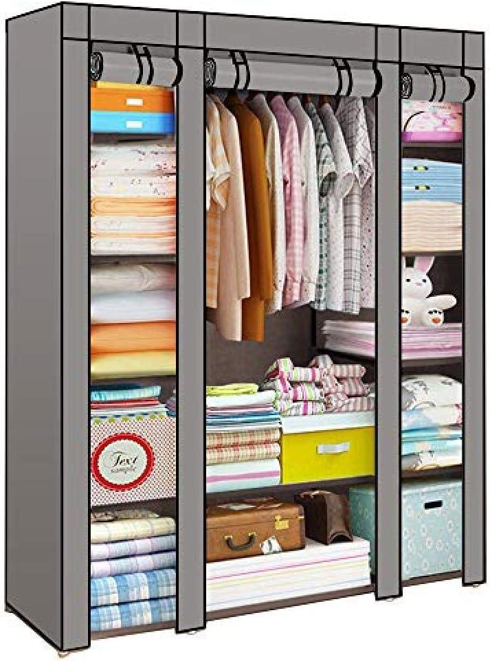 YYZZ MultiWare - Armario triple de tela para almacenamiento de ropa, armario y barra para colgar, con puertas correderas: Amazon.es: Hogar