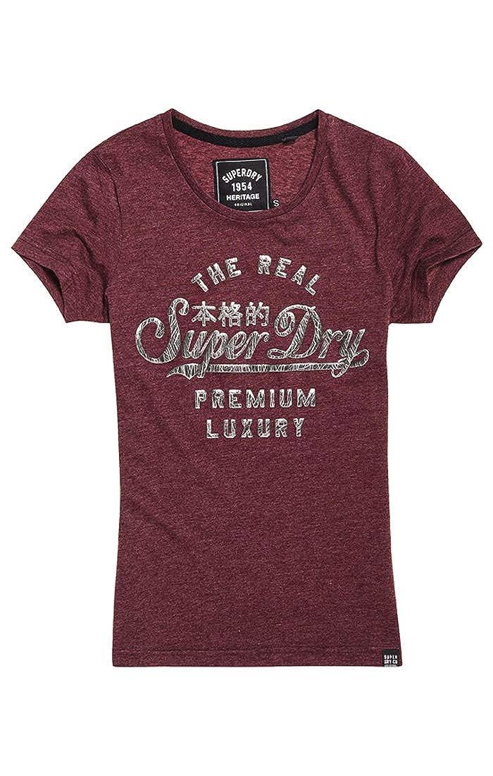 TALLA X-Small (Talla del fabricante: 8.0). Superdry Luxury Foil Entry tee Camiseta de Tirantes para Mujer