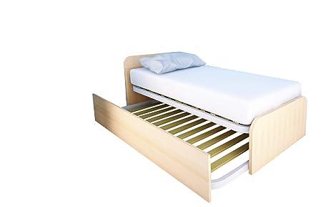 MOBILFINO CAMERETTE 964R Letto cameretta 80x190 da singolo a matrimoniale,  design personalizzabile con secondo letto estraibile e sollevabile FAGGIO