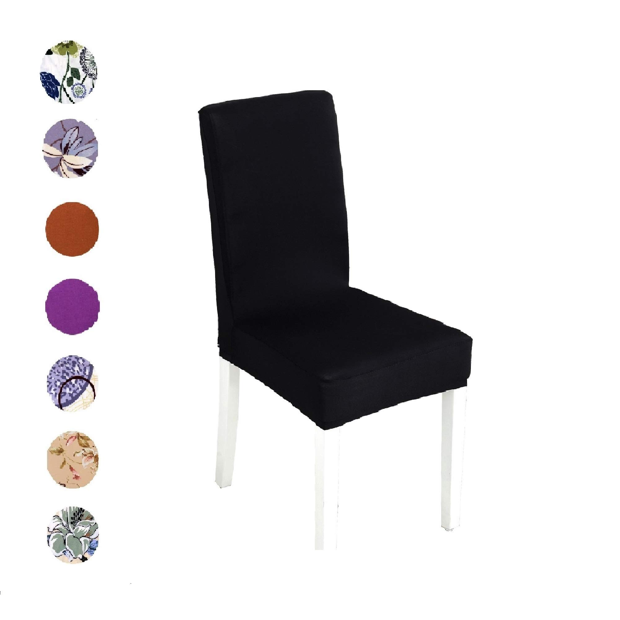 Argstar 2 Pack Stretch Chair Covers Dining Room Black Removable Protector