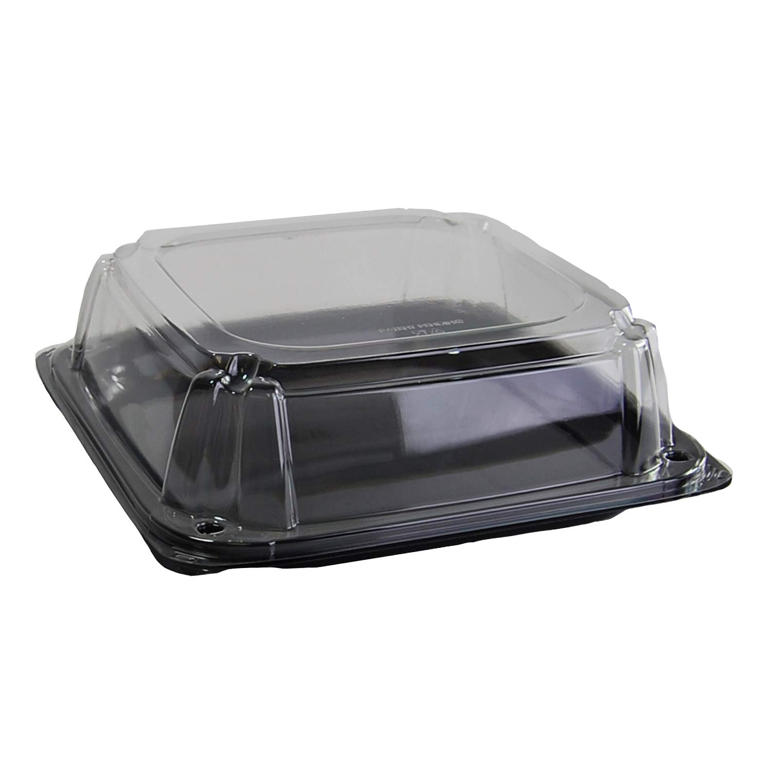 Sabert Black 10.7'' UltraStack Square Platter with Clear 3'' Dome Lid, Durable Plastic, Disposable, 25 Count by Sabert (Image #1)