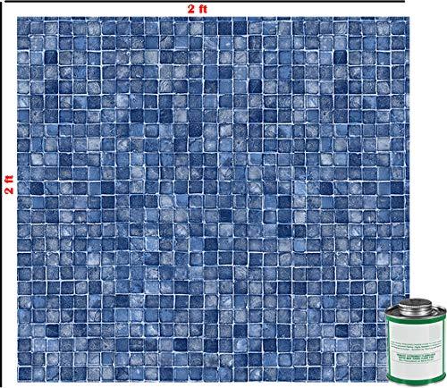 - Blue Mosaic 2 Ft X 2 Ft Above & Inground Swimming Pool Vinyl Liner Repair Kit with Glue