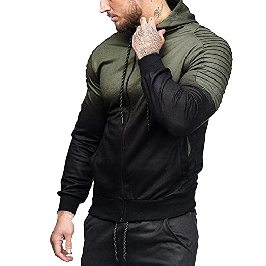 0ea64a6b072 Lelili Men Hoodie Jacket Fashion Gradient Color Ribbed Long Sleeve Zip up  Drawstring Hooded Outwear Coat