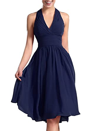 Karma Prom Womens Knee Length Halter Dress Bridesmaid Dresses Short Prom Dress Navy Blue Us14