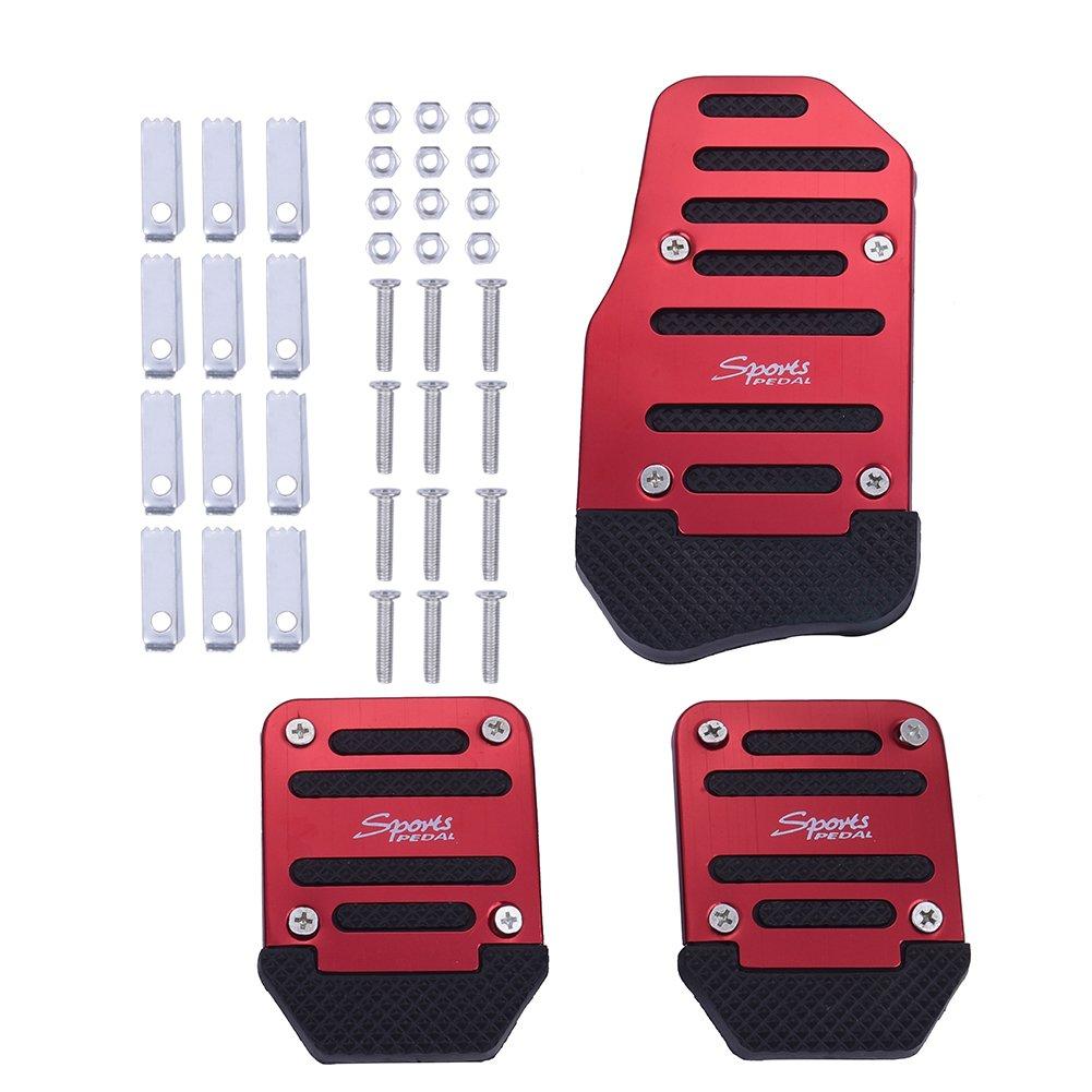 3pcs/set Aluminium Alloy PVC Automobiles Nonslip Pedal Cover Plate Brake Pad for Car Hjuns