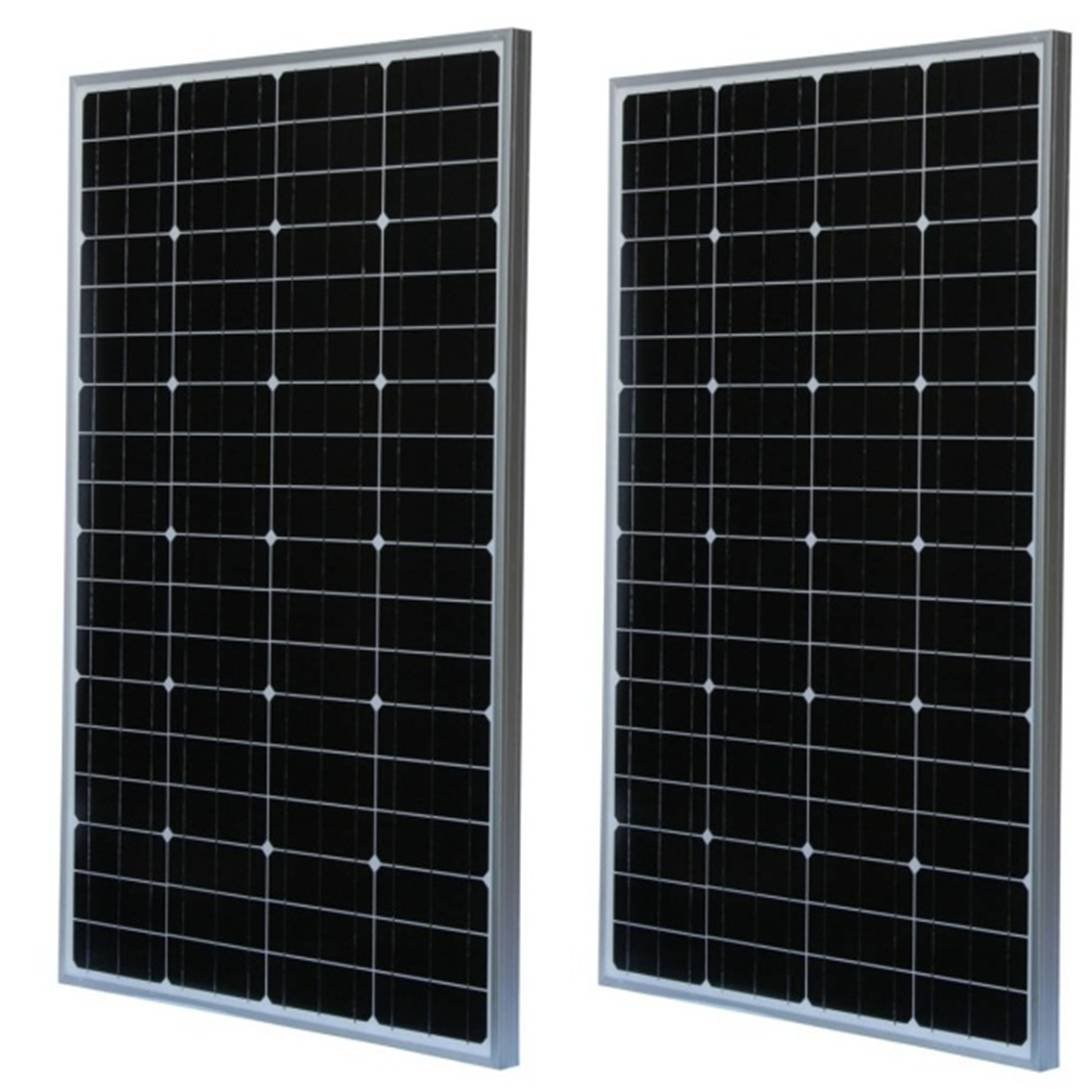 WindyNation 2 pcs Lot of Two 100 Watt 100W Monocrystalline Photovoltaic PV Solar Panel Module 12V 12 Volt Battery Charging for Boat, RV, Off-Grid