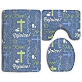 Tuoluoo Christian He Is Risen 3 Piece Bath Mat Set Pedestal Lid Toilet Cover Rug Bath Mat