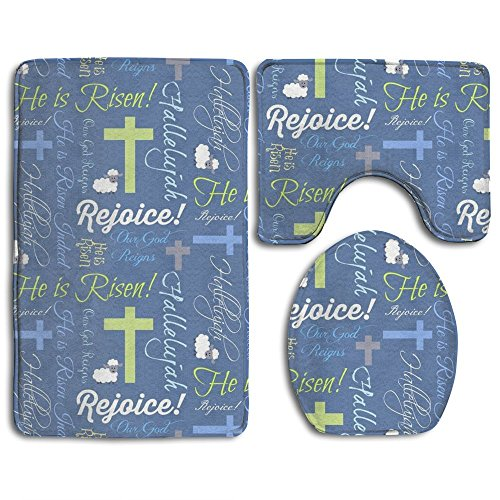 Tuoluoo Christian He Is Risen 3 Piece Bath Mat Set Pedestal Lid Toilet Cover Rug Bath Mat by Tuoluoo