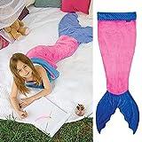 Wenfengshop Kid Shark Mermaid Tail Flannel Blanket Soft Snuggle-in Sleeping Bag Costume (Mermaid Pink)