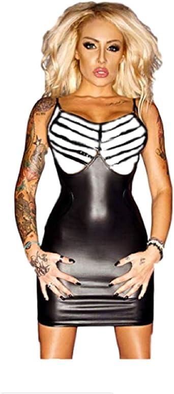 Top Totty Lisa L Black Zipper Back Leather Dress