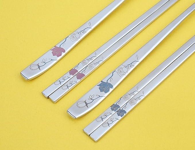 Amazon.com: Coreano cucharas de acero inoxidable y palillos ...