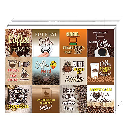 Creanoso Inspiring Inspirational Coffee Stickers Series III (10-Sheet) - Assorted Premium Gift Set - Awesome Stickers for Coffee Lovers, Fanatics, Baristas