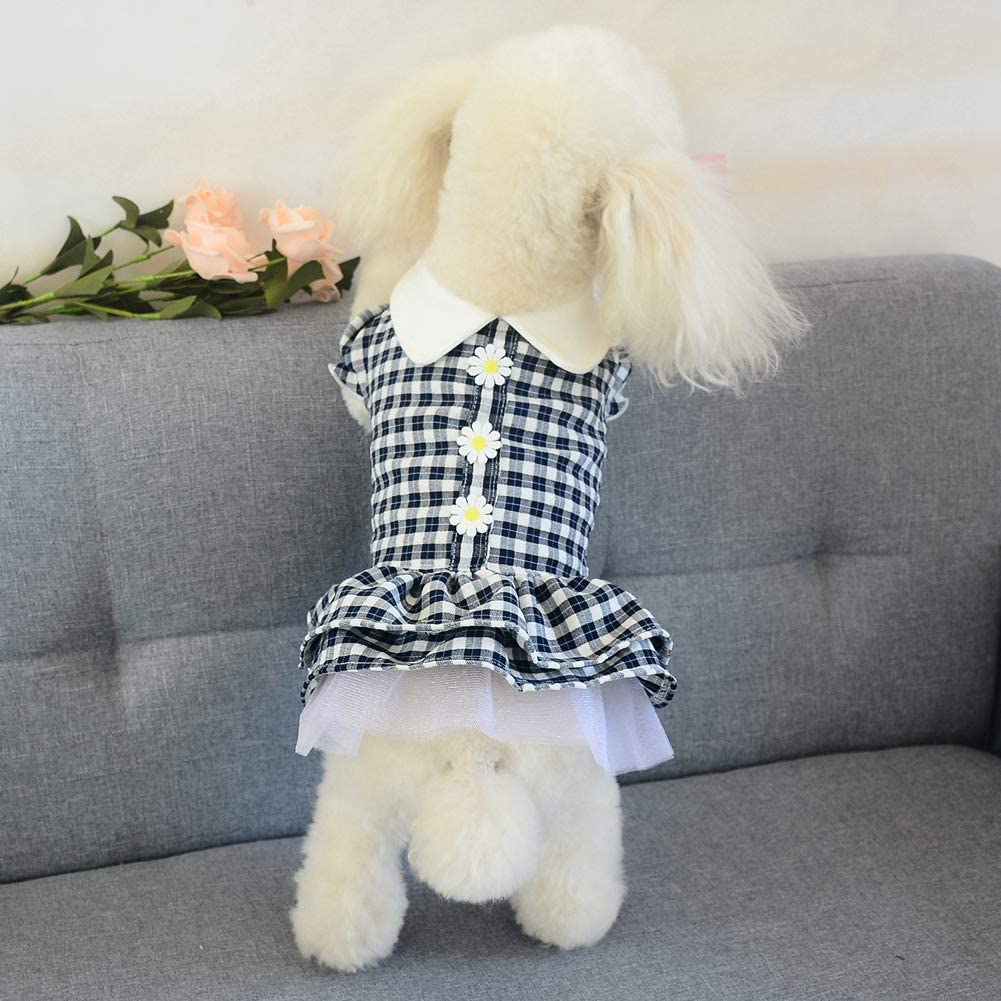 Small Dog Flower Skirts Puppy Dress Plaid Dog Tutu Skirts Summer Dog Clothes Dog Princess Clothes for Small Dogs and Puppy
