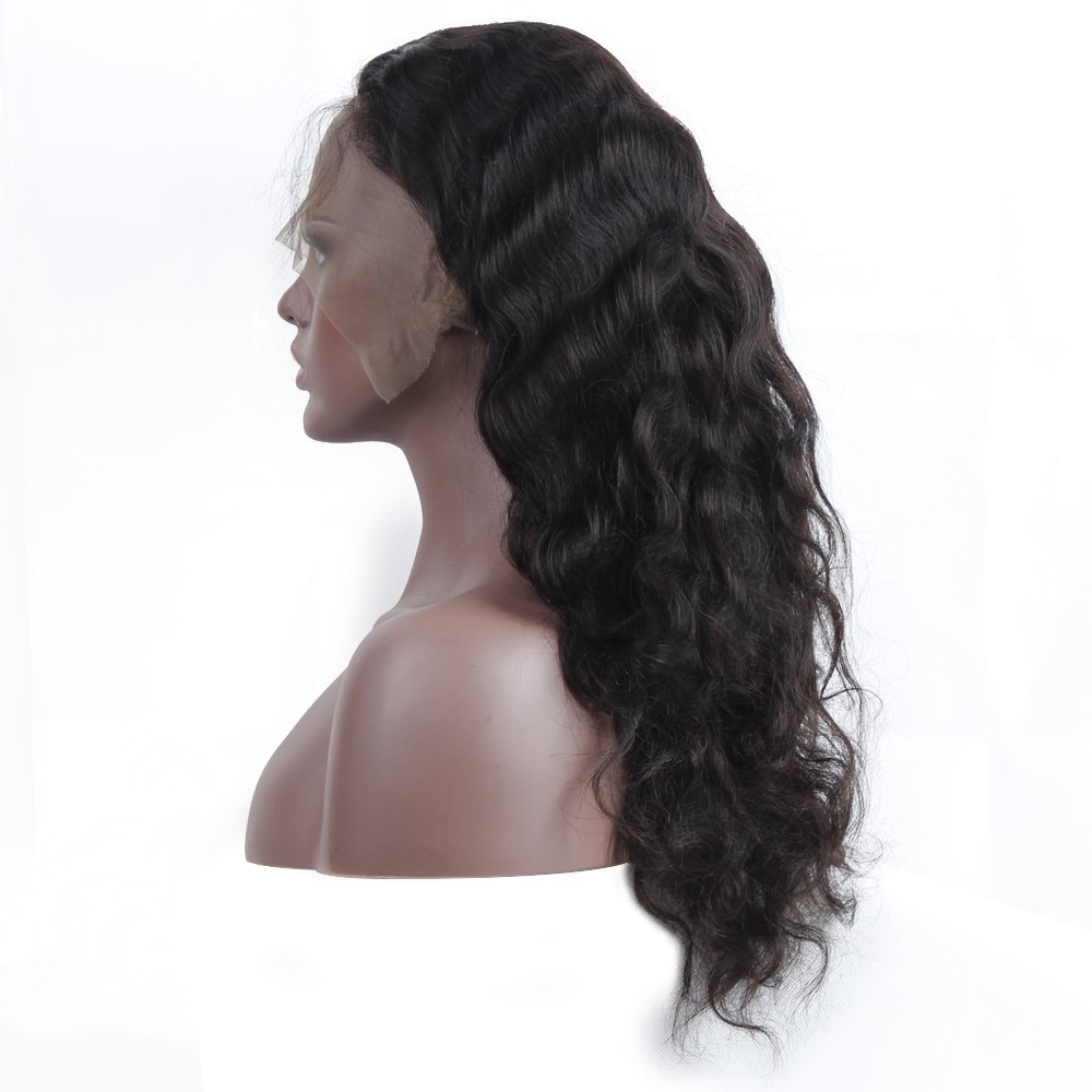 Queen Plus Body Wave 360 Lace Frontal Wig 180% Density Peruvian Virgin Hair Full Lace Cap Band Human Hair Wigs For Black Women Pre Plucked Hairline with Baby Hair (18inch) by Queen Plus Hair (Image #7)