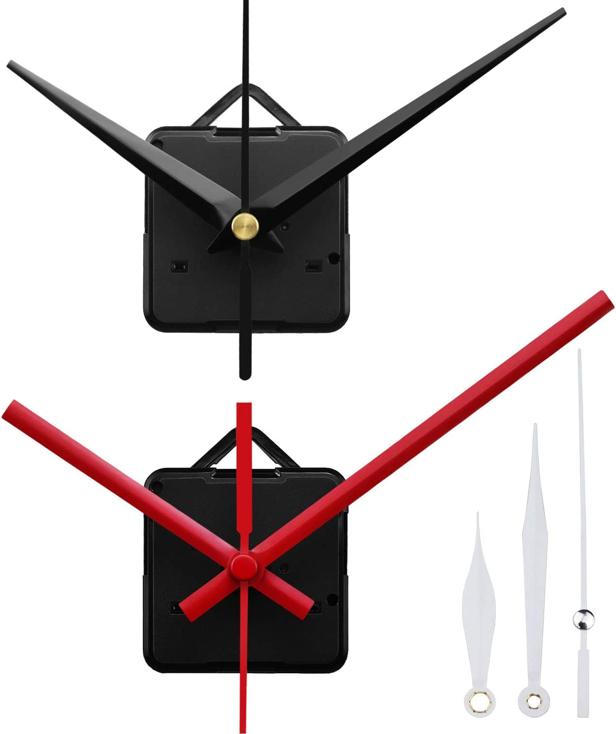 StFlyBro 2 Silent Sweep Clock Motors with 3 Pack Different Size and Colorful Clock Hands (Black)
