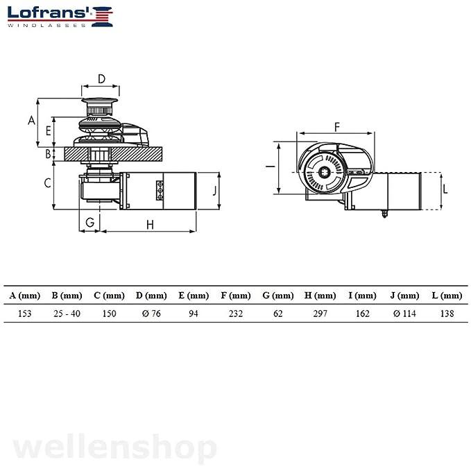 wellenshop Ankerwinde Lofrans Project 1000 12V Kette 8mm Seil 14mm ...