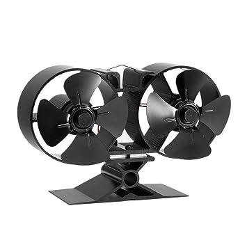 F260 4 Cuchillas Estufas alimentadas por Calor Doble Ventiladores Ahorro de energía Estufa Ventilador Ventilador ecológico para el hogar Accesorios de ...