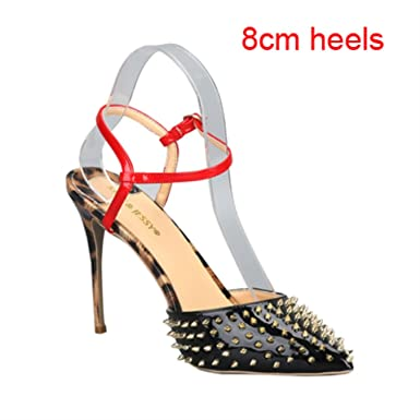 3721aead31772 Amazon.com  Sexy Leopard Black Shiny Leather Rivets Studs Woman ...