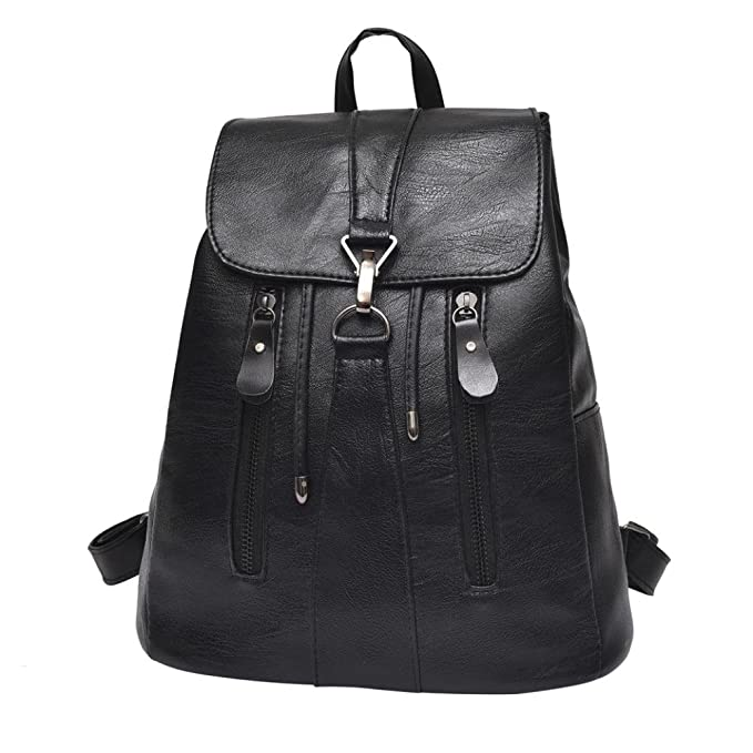 Owill Woman Ladies Fashion Leather Backpack Female Mochila Large Capacity School Buckle Backpack (Black)