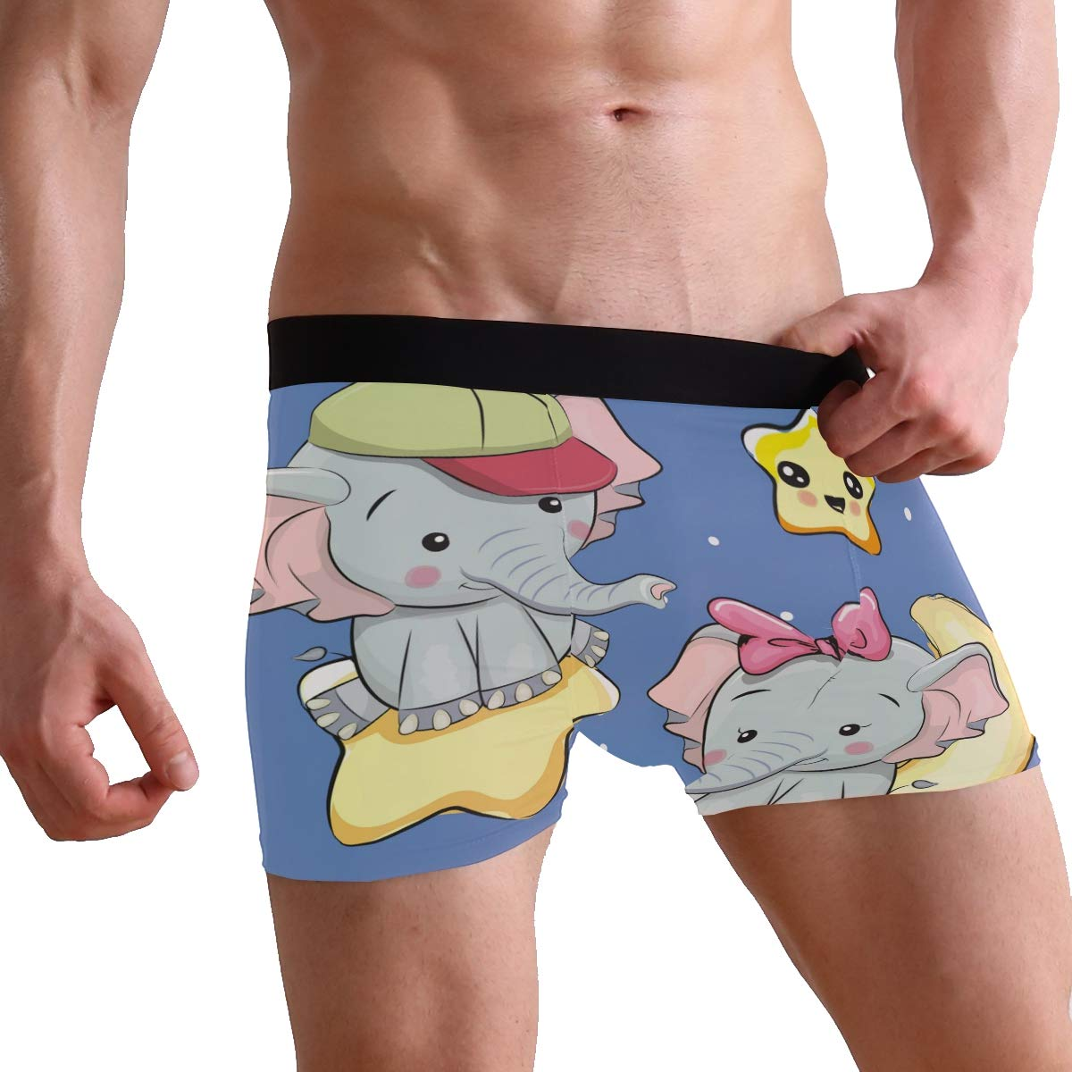 Elephant Galaxy Star Moon Short Underwear Soft Stretch Underpants for Men Boys S-XL BETTKEN Mens Boxer Briefs