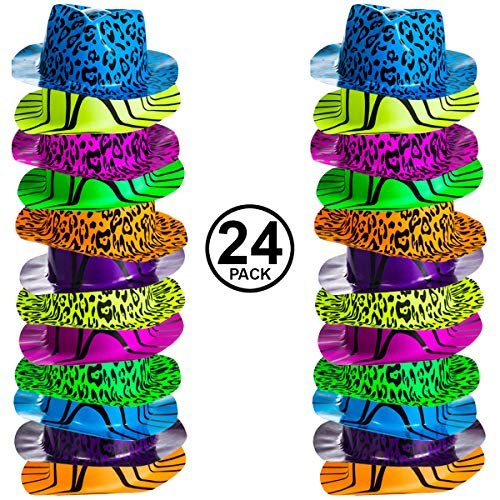 Neon Party Hats - 24 Pack - Plastic Gangster Hats - 80s Party Hats - Animal Print Party Hats by Funny Party Hats -