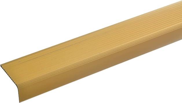 acerto 51022 Perfil angular de escalera de aluminio - 100cm 23x40mm dorado I Antideslizante I Robusto I