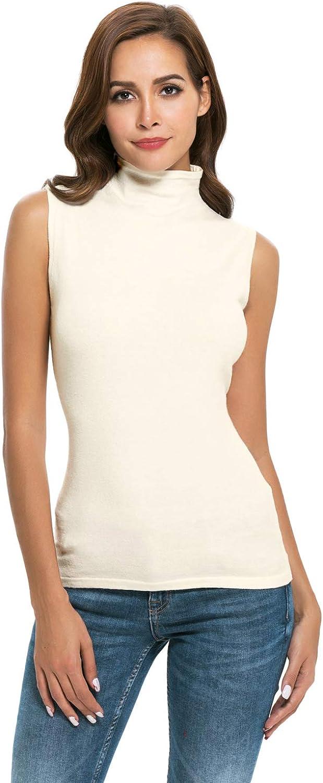 Nevera Women Sleeveless Solid Slim Fit Turtleneck Tee Shirt Tank Top Blouse
