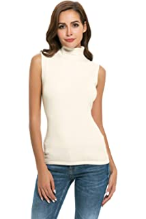 065ffd0680d43 Nasperee Women Sleeveless High Mock Turtleneck Knit Pullover Sweater Shirt  Plain Slim Fit Tank Tops