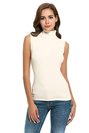 c08eeba0fdf4a5 Nasperee Women Sleeveless High Mock Turtleneck Knit Pullover Sweater Shirt  Plain Slim Fit Tank Tops Beige