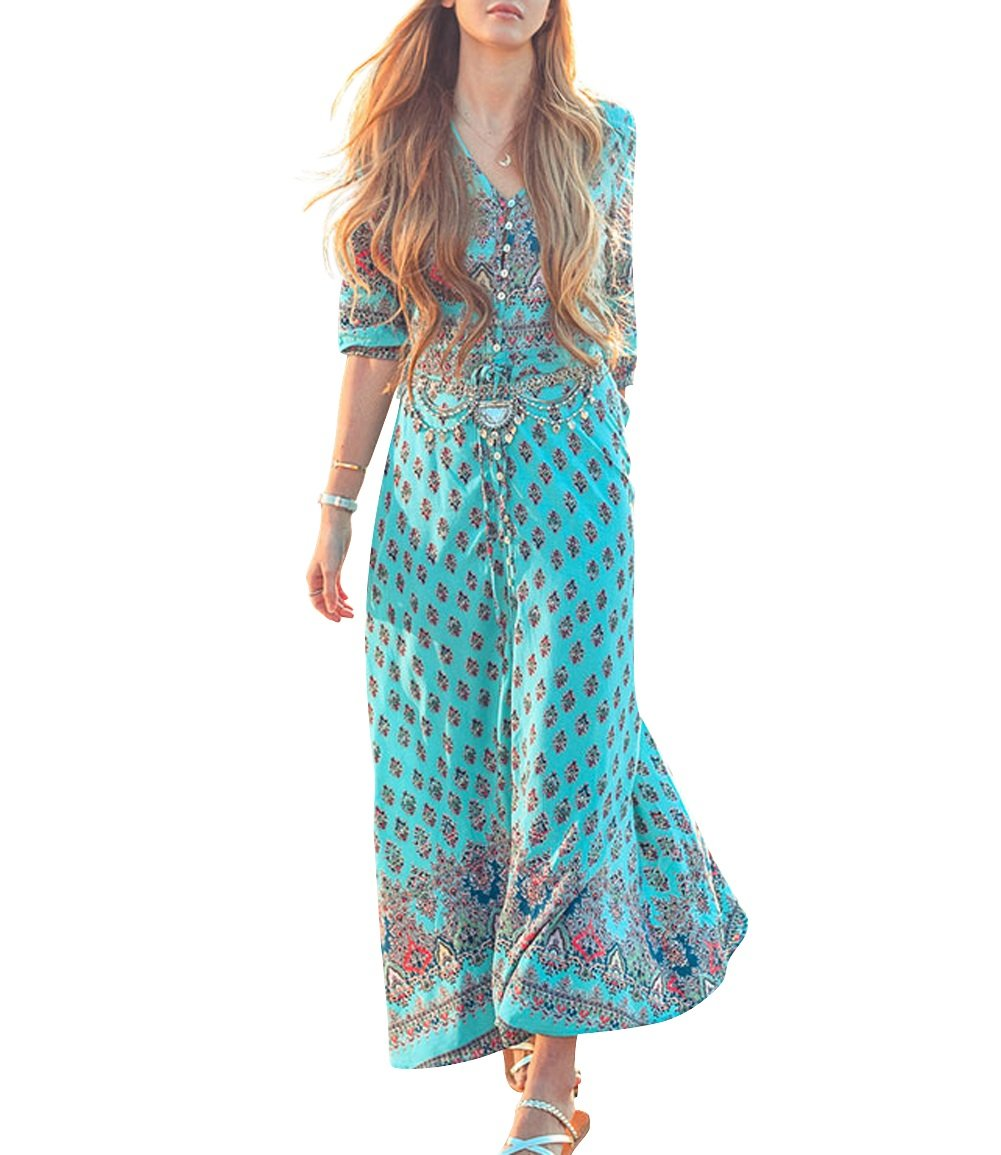 JudyBridal Women's Boho V Neck Sexy Button Closure Floral Beach Maxi Party Dress L Lake Blue