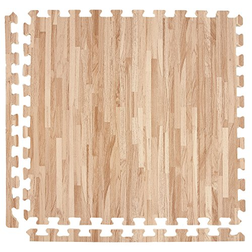 IncStores Soft Wood Foam Tiles (25 Tiles, Textured Maple) 2ft x 2ft Interlocking Floor Tiles With Edges (Interlocking Trade Show Flooring)