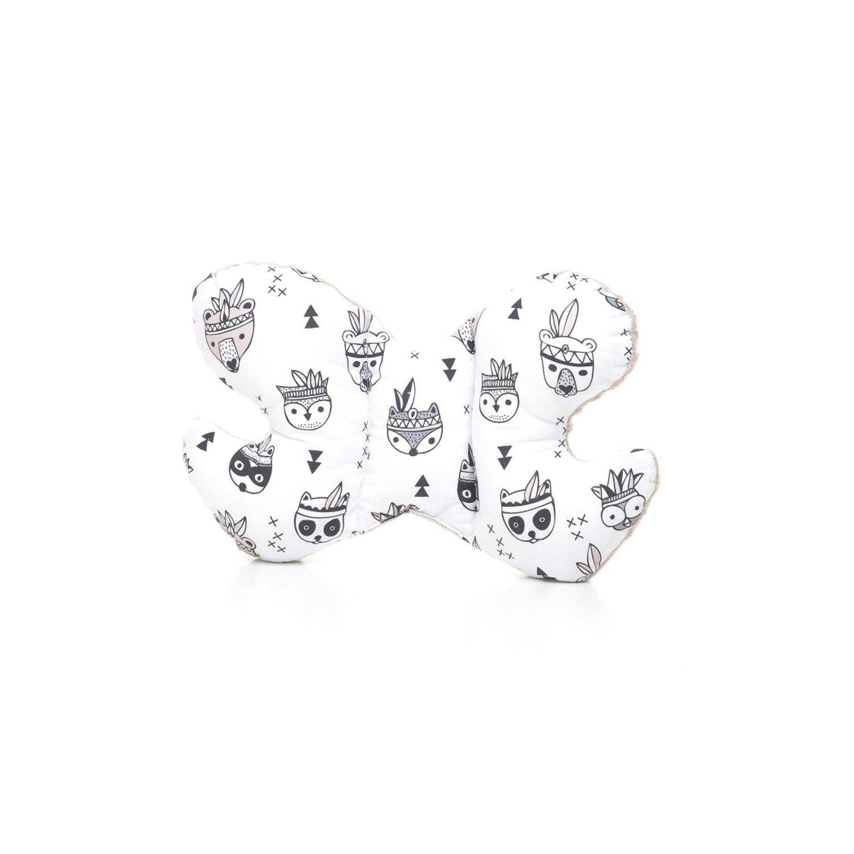 decorwelt | Babykissen Schmetterling 24x36 cm Muster Indianer Beige Nackenkissen Kissen Kinder Neugeborene Kopfform Hörnchen Kinderkissen Nackenstützkissen milutka