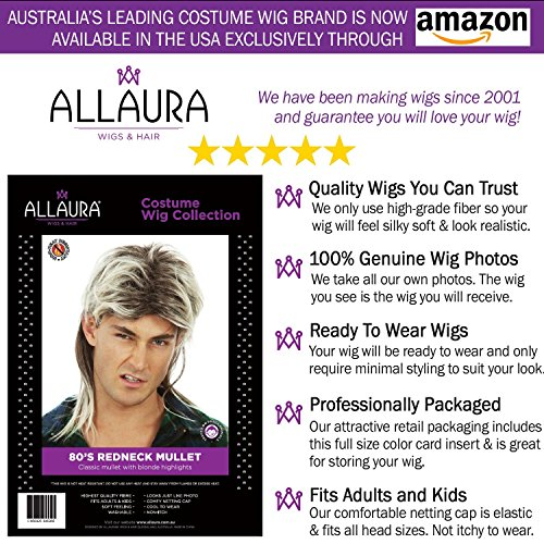 80s Blonde Mullet Wig for Men - Joe Dirt Wigs White Trash Redneck Costume by ALLAURA (Image #4)
