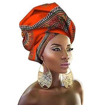 choisir le dernier date de sortie: sélectionner pour véritable Mishow Écharpe Foulard Décoratif National Châles Femmes Africain Head Wrap  Africain Traditionnel Cire Imprimé Ankara Coton Foulard (Orange)