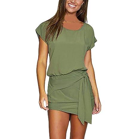 Vestidos Cortos Verano Mujer SUNNSEAN Color Liso Casual Vestidos ...
