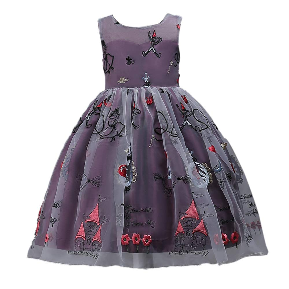 58d4a186cc0b39 Si Rosa by Hopscotch Girl s Polyester Applique Sleeveless Party Dress ( Purple