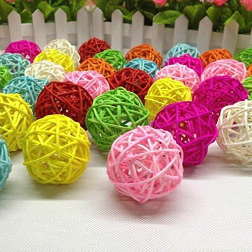 Rattan Ball (B&S FEEL 50 Pcs Assorted Color Small Twig Grapevine Balls 3cm Decorative Wicker Rattan Balls)