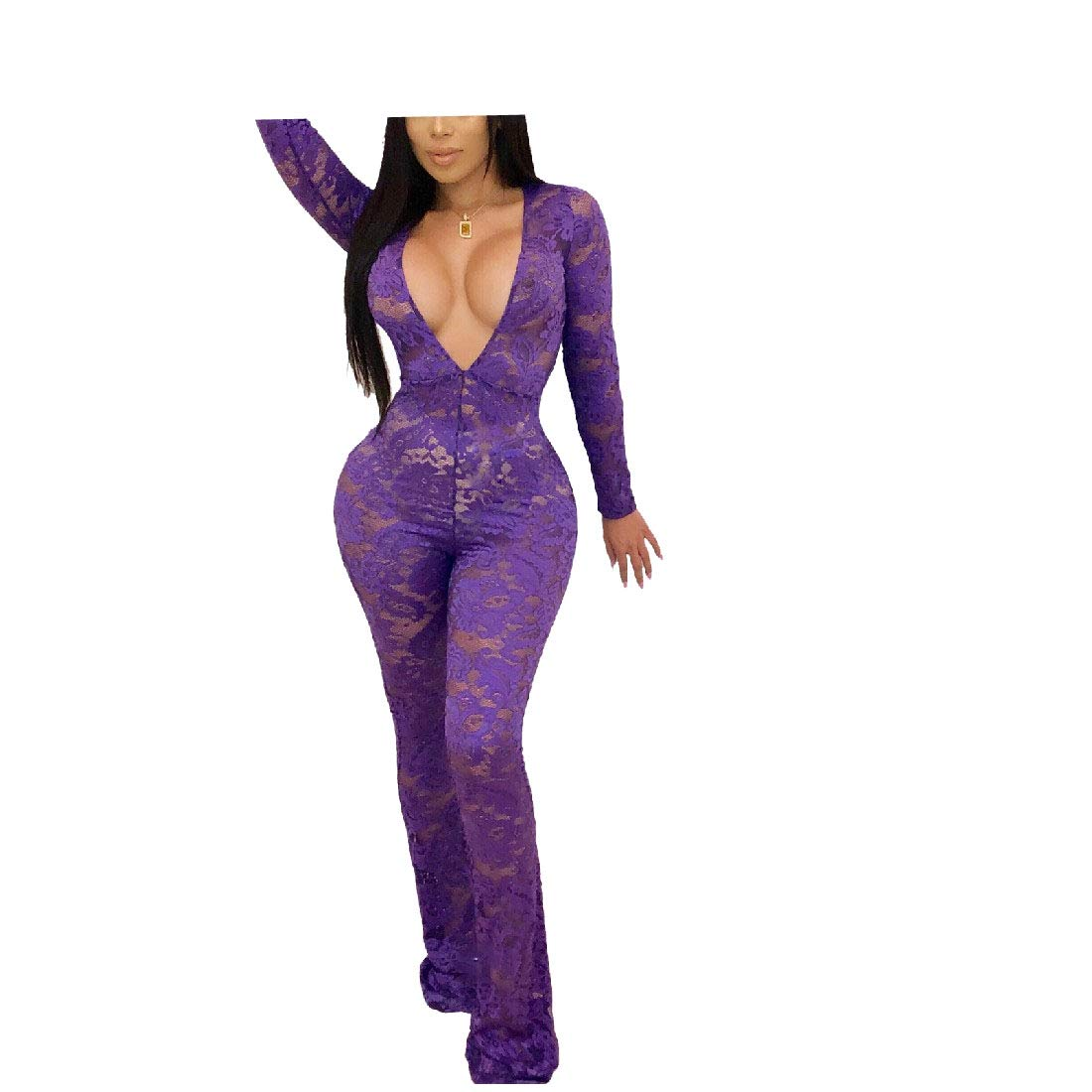 Comaba Womens Lace Deep V Neck See Through Long-Sleeve Playsuit Jumpsuit