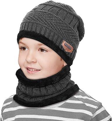 Kinder Baby Warme Strickmütze Hut mit Schal Wintermütze Beanie Cap 4 Farbe