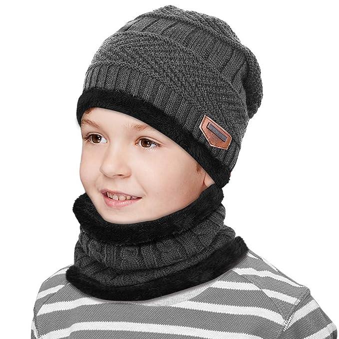 Fodera invernale in pile per bambini Sciarpa e cappello lavorati a maglia  caldi scaldati Sciarpa e e2ba6cb6f5cd
