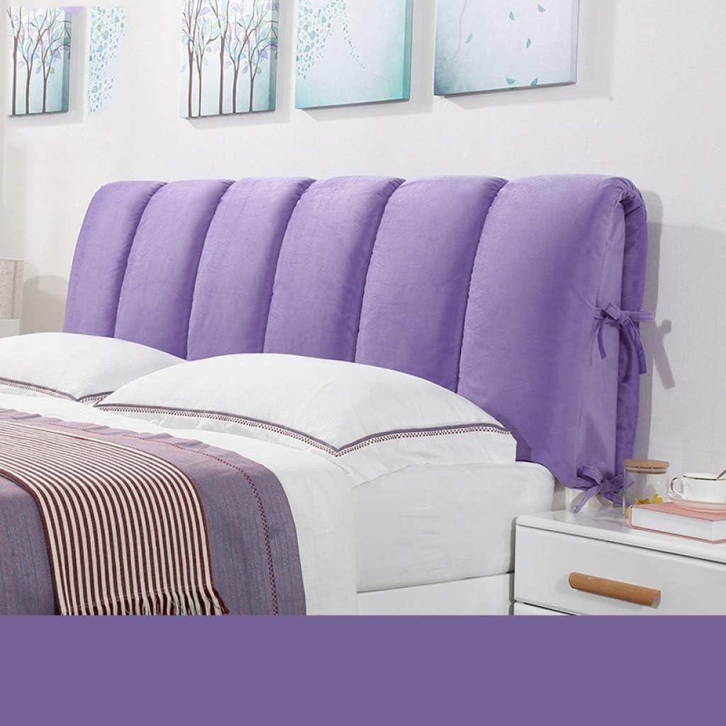 ソフトケースベッドクッションダブルベッドバック、無垢材ベッドラックベッドルームラック休憩サイズ読書クッションダストカバー洗える4色、5サイズ(色:紫、サイズ:120 * 60 cm)