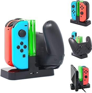 4 Joycon y 2 Pro Controller estación base de carga para Nintendo ...